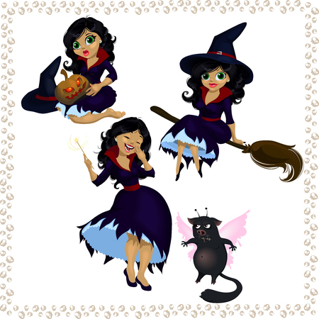 Pretty cartoon witch with imp isolated on white background