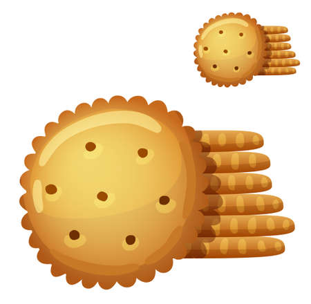 Cracker cookies isolated on white background. Detailed Vector Icon. Series of food and drink and ingredients for cooking.