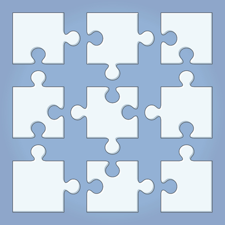 Puzzle pieces. Cartoon vector illustration. Jigsaw template