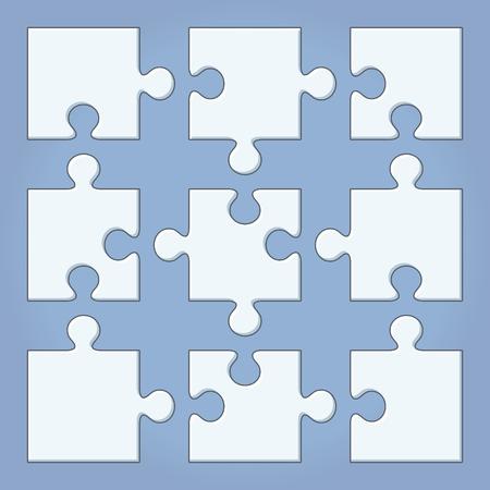 Puzzle pieces. Cartoon vector illustration. Jigsaw template