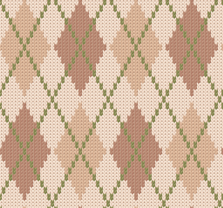 Winter knitted background with diamonds. Vector seamless pattern. Illustration