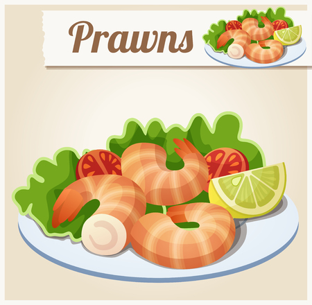 Prawns. Detailed Vector Icon. Series of food and drink and ingredients for cooking. Illustration