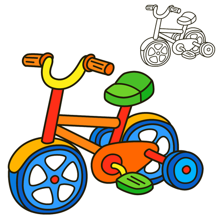 Bicycle. Coloring book page. Cartoon vector illustration