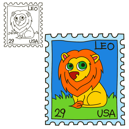 Postage stamp. Coloring book page. Cartoon vector illustration