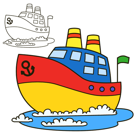 Motorschiff. Malbuchseite. Cartoon-Vektor-Illustration Vektorgrafik