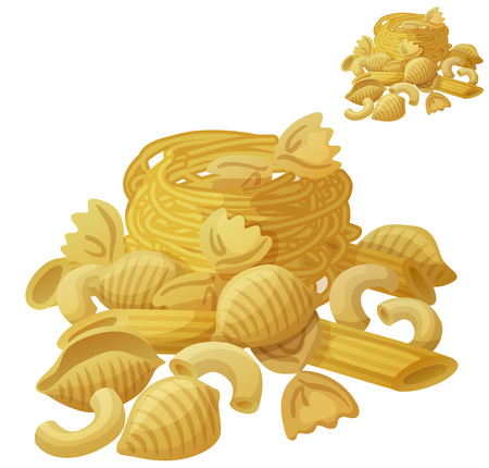 Pasta. Detailed Vector Icon isolated on white background. Series of food and drink and ingredients for cooking.