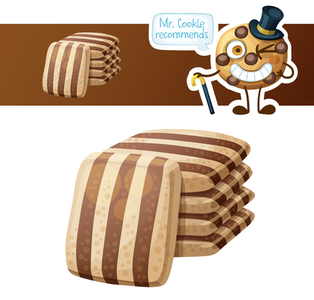 Striped chocolate cookies and cute funny cookie character. Cartoon vector illustration isolated on white background. Series of food and drink and ingredients for cooking.