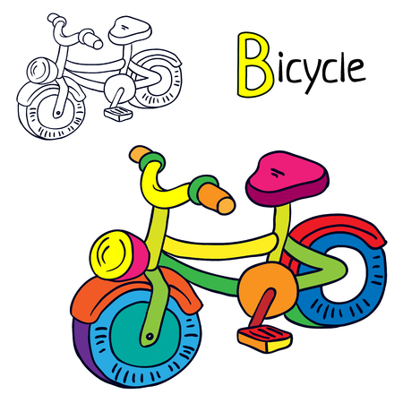 Bicycle Coloring book page. Cartoon vector illustration.