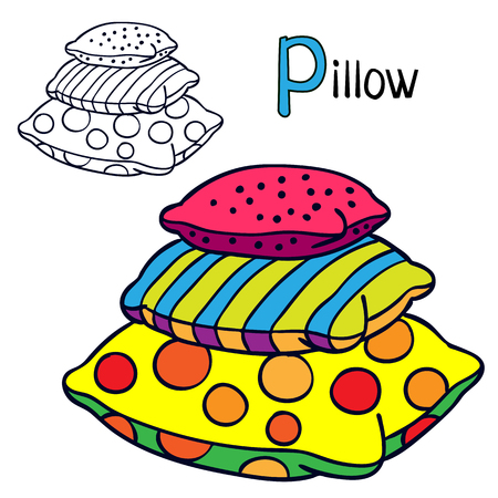 Pillow. Coloring book page for children. Cartoon vector illustration.