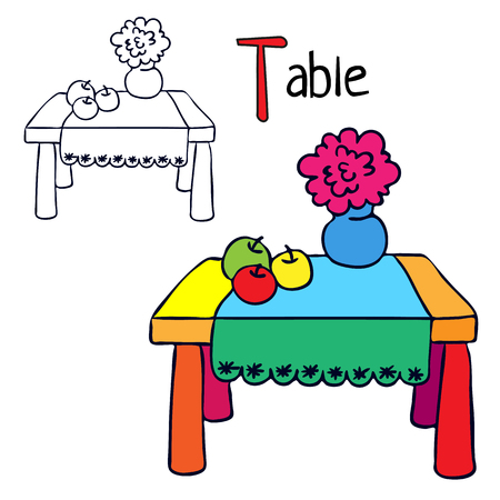 Table. Coloring book page. Cartoon vector illustration