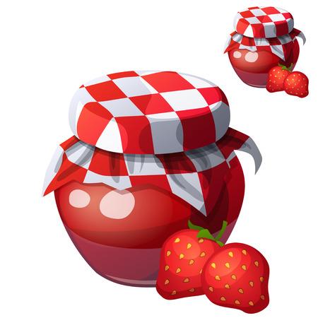 Erdbeermarmelade. Cartoon-Vektor-Symbol isoliert auf weißem Hintergrund