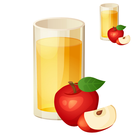 Apple juice. Detailed Vector Icon isolated on white background. Series of food and drink and ingredients for cooking.
