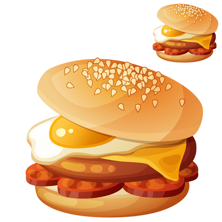 Burger with fried egg, cheddar cheese, beef cutlet, chorizo slices. Detailed vector icon isolated on white background. Series of food and drink and ingredients for cooking.