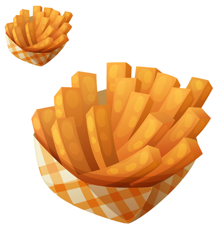 Sweet potato fries in paper box. Detailed vector icon isolated on white background. Series of food and drink and ingredients for cooking.