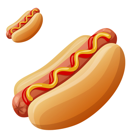 Hot dog. Detailed vector icon isolated on white Standard-Bild - 116941658