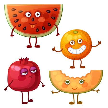 Funny fruit characters isolated on white background. Cheerful food emoji. Cartoon vector illustration: fool watermelon slice, cheerful orange, calm pomegranate, sweet melon Illusztráció
