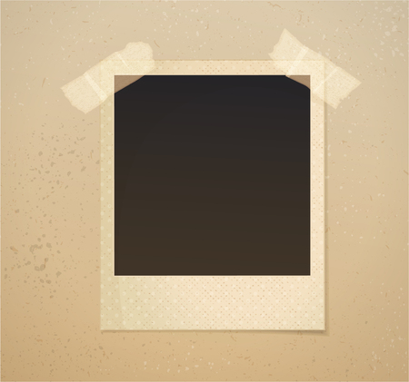 Photoframe on beige background with adhesive tape. Vector illustration.