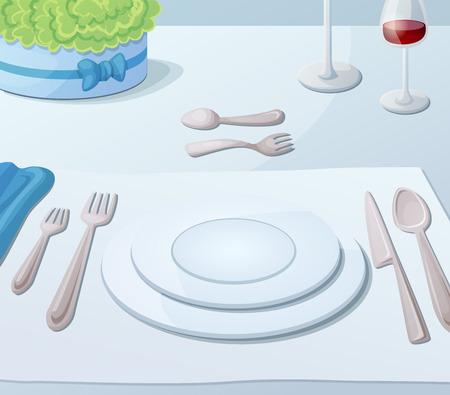Served table. Cartoon vector illustration