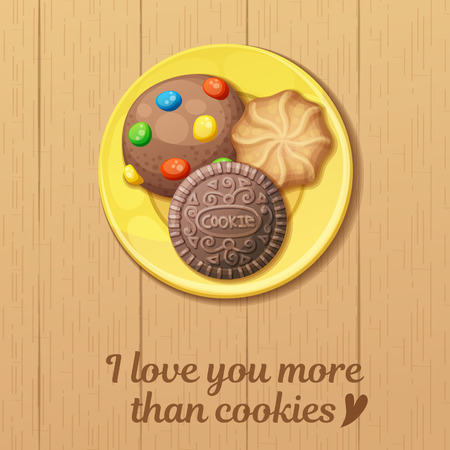 Yellow plate with three round cookies top view: monster, chocolate, butter cookie. Cartoon vector illustration. Food sweet icons. I love you more than cookies quote