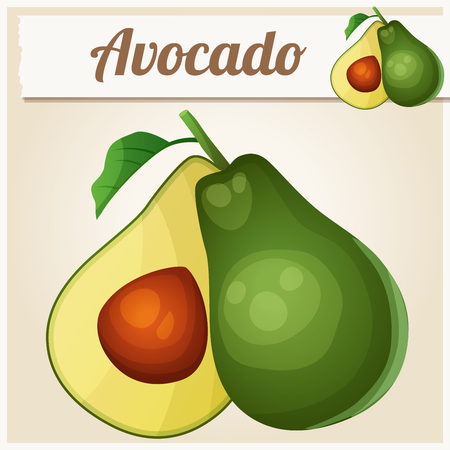 Avocado. Cartoon vector icon. Series of food and drink and ingredients for cooking. Illusztráció