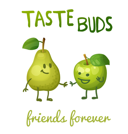 Green apple and pear with leaf characters. Cartoon vector illustration. Cute print Taste buds