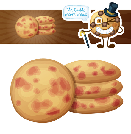 Cookies with berries illustration. Cartoon vector icon. Series of food and drink and ingredients for cooking.