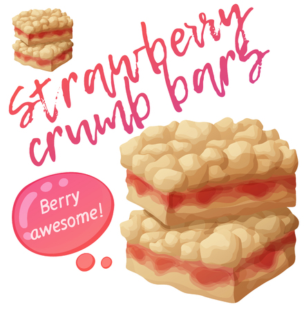 Strawberry crumb bars pastry. Cartoon vector illustration isolated on white background. Series of food and drink and ingredients for cooking