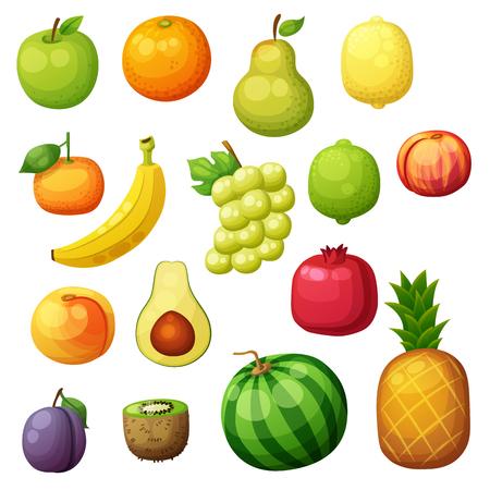 Cartoon fruits icons set isolated on white background. Vector illustration of apple, pear, lemon, grape, orange, kiwi, pomegranate, banana, tangerine, lime, pineapple, plum