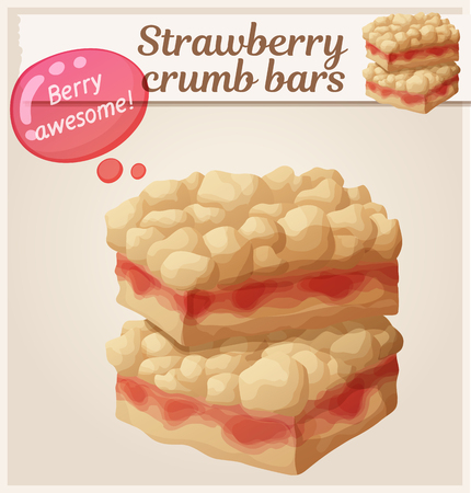 Strawberry crumb bars pastry. Cartoon vector illustration. Series of food and drink and ingredients for cooking Ilustração