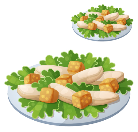 Caesar salad. Detailed vector icon isolated on white background. Series of food and drink and ingredients for cooking.