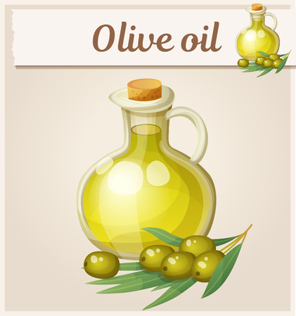 Olive oil in bottle. Cartoon vector icon. Series of food and drink and ingredients for cooking