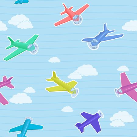 Cartoon blue seamless vector pattern with colorful airplanes for kids