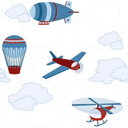 Cartoon childish seamless vector pattern with blue and red airplanes