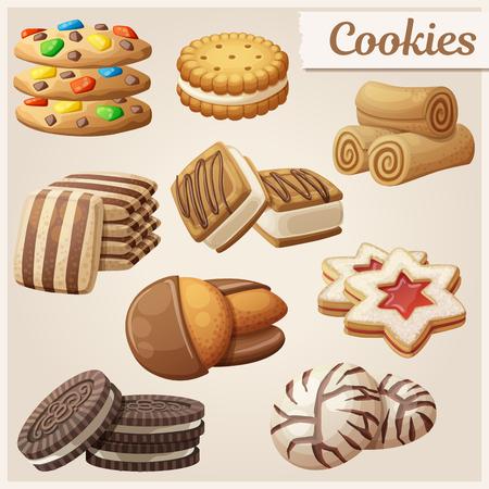 Juego de deliciosas galletas. Ilustración vectorial de dibujos animados. Iconos de alimentos dulces.