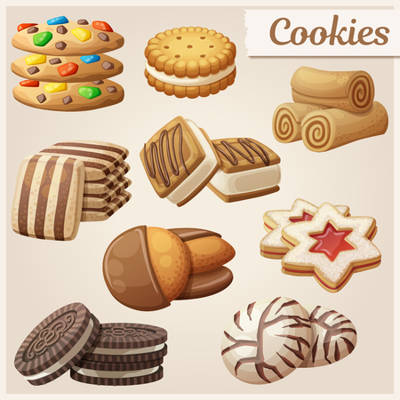Set of delicious cookies. Cartoon vector illustration. Food sweet icons.  イラスト・ベクター素材