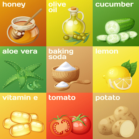 Facial mask ingredients for home face skin care.