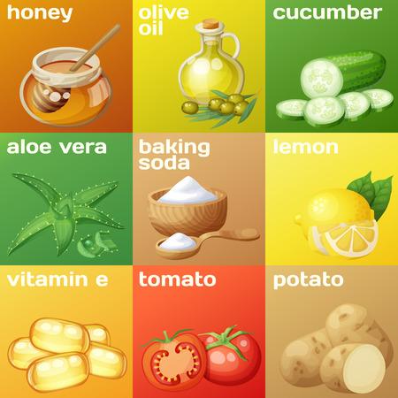 Ingrédients du masque facial pour les soins de la peau du visage à domicile.
