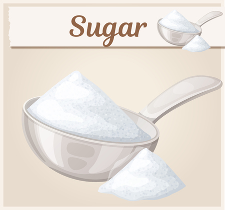 White sugar in metallic spoon. Cartoon vector icon. Series of food and ingredients for cooking Illustration