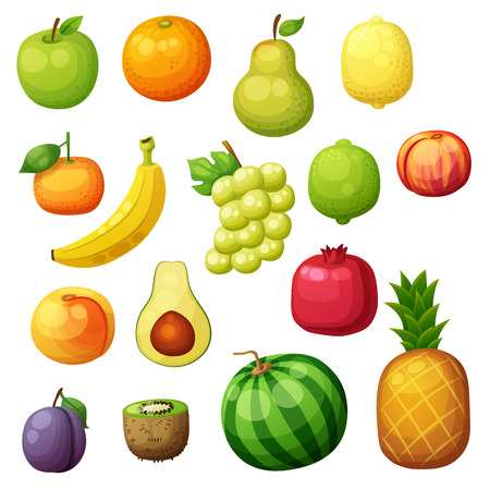 Cartoon fruits icons set isolated on white 矢量图像