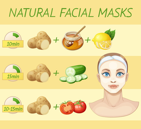 Natürliche Gesichtsmasken. Karikaturvektorillustration der jungen Frau, die hausgemachte Maske für das Gesicht aus Lebensmittelprodukten anwendet. Vektorgrafik