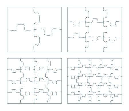 Sätze von Puzzleteilen Vektor-Illustration. 2 x 2, 3 x 3, 4 x 4,5 x 5 Puzzle-Spiel-Umriss-Stücke Bild