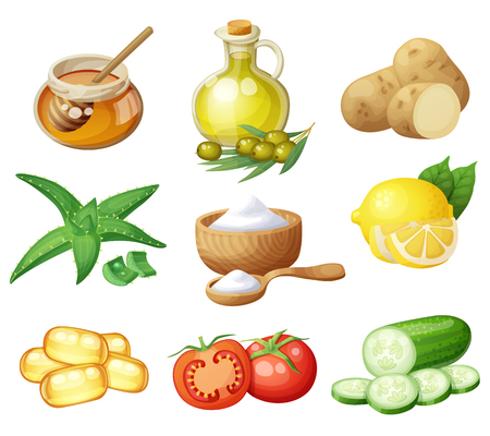 Facial mask ingredients for home face skin care. Cartoon vector food icons set isolated on white background. Natural cosmetic illustration Ilustração