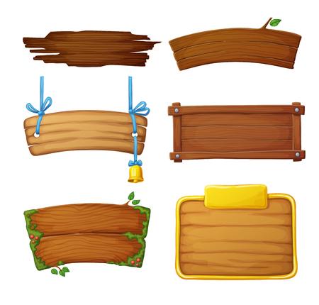 Ensemble de bannières en bois avec éléments décoratifs. Jeu de panneaux de signalisation sombres et clairs isolés sur fond blanc. Illustration vectorielle de dessin animé