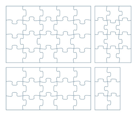 Sets of puzzle pieces vector illustration. 2 x 2, 3 x 3, 4 x 4. 5 x 5 jigsaw game outline pieces picture Иллюстрация