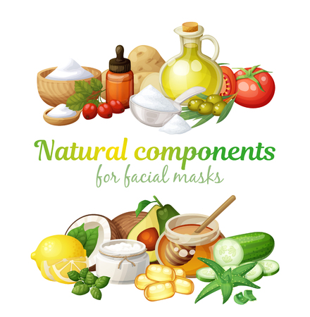 Natural components together illustration. Facial mask ingredients for home face skin care