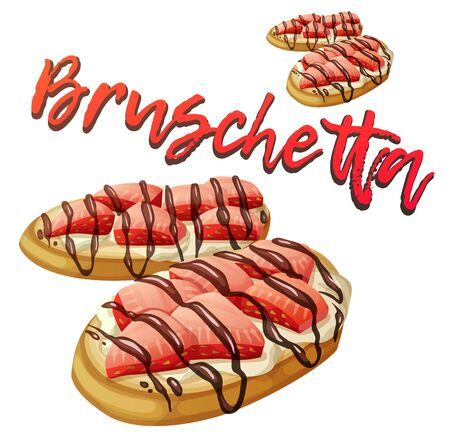 Strawberry bruschetta icon. Cartoon vector illustration isolated on white background Illustration