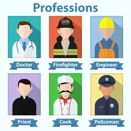 Flat vector profession avatars. Various job people icons. Doctor, firefighter, engineer, priest, cook, policeman characters Illusztráció