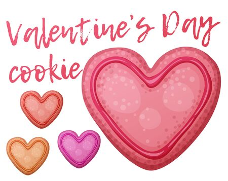 Pink, red and orange Valentine day cookies illustration. Cartoon vector icon isolated on white background