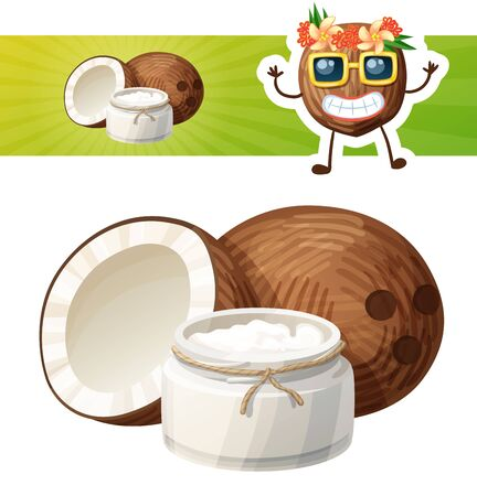 Coconut oil in a glass jar. Cartoon vector icon with a coconut character Ilustração