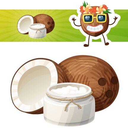Kokosöl in einem Glasgefäß. Cartoon-Vektor-Symbol mit einem Kokos-Charakter Vektorgrafik